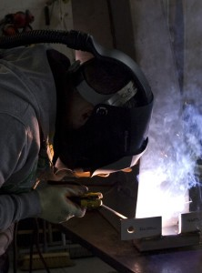 stick welding the fixing plates